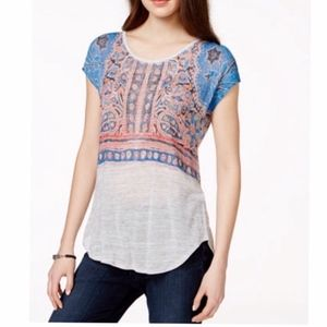 LUCKY BRAND Indian Mural T-Shirt Gray Boho Striped